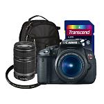 Canon EOS Digital Rebel T4i 18MP SLR Camera w/ 18-55mm Lens + 55-250mm IS Lens + AmazonBasics Backpack + 16GB Transcend Class 10 SDHC Memory Card + UV Filter