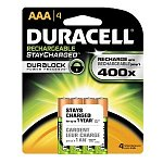 Duracell Batteries: 4-pk Rechargeables StayCharged AAA $5.75 or 4-pk AA $6.75, Mini Charger w/ 2 Pre Charged AA Batteries $5.50, 12-Count Keyless Entry 12-Volt Alkaline Batteries