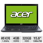 """Acer Aspire AS5560G-7809 Laptop: Quad Core A6-3420M 1.5GHz CPU,15.6"""" LED (1366x768), 4GB DDR3, 320GB HDD, AMD Radeon HD 7670M, 6-Cell, Win 7 Home Prem"""