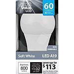 Walmart A19 8.5 Watt LED Light Bulb (60-Watt equivalent) $2.47 (without rebate/subsidies)