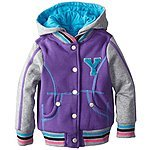 YMI Little Girls' Toddler Fleece Varsity Machine Wash Jacket with Hood 2T   $7-13