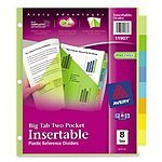 Avery Big Tab Two-Pocket Insertable Plastic Dividers, 8-Tabs  2.99 FS with Prime or over $35