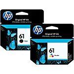 HP #61 Genuine Black & Color Ink Cartridges Combo New Retail Box 2016 Expiration $24.99