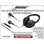 Bose In-Ear & On-Ear Headphones Up To 50% Off+FS Online/In-store @ Fry's