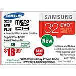 Samsung 32GB EVO Plus MB-MC32DA/AM micro SDHC Flash Card $19@Frys (w/emailed code)