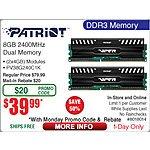 8GB Patriot DDR3 2400 SDRAM Memory $40AR @Frys 8/17 w/emailed code  128GB Turbo Flash Drive $30