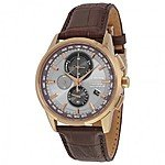Citizen Eco-Drive A-T Collection World Chronograph w/ Perpetual Calendar Men's Watch on Brown Leather Strap for $269 or on Gold-Tone Bracelet $307 + Free Shipping