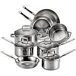 T-fal E469SC Tri-ply Stainless Steel Multi-clad Cookware Set, 12-Piece
