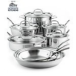 "Calphalon Bundle: Tri-Ply Stainless Steel 13-Pc Cookware Set + Unison Nonstick 12"" Everyday Pan + 7-PC Mixed Kitchen Utensil Set $340 + FS"