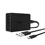 Tronsmart Quick Charge 2.0 54W USB Wall Desktop Charger 5-Port [Qualcomm Certified] + 6FT Micro USB Cable $20 AC