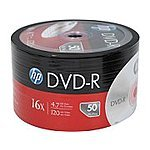 HP 4.7GB 16X DVD-R 50 Pack $5.99 with Free Shipping