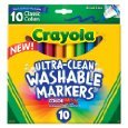 10 Count Crayola Ultraclean Classic Washable Markers (Broadline or Fineline) $1.97 f/s with Amazon Prime