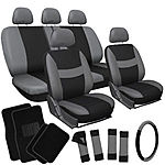 Car Seat Covers 21pc Set Gray Black and Head Rest and Floor Mats + $35 + FS