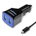 SwifTrans Quick-Charge 2.0 36W 2-Port USB Car Charger +  3.1 Ft. MicroUSB Cable for $8.99 AC + FSSS or FS w/ Prime @ Amazon.com